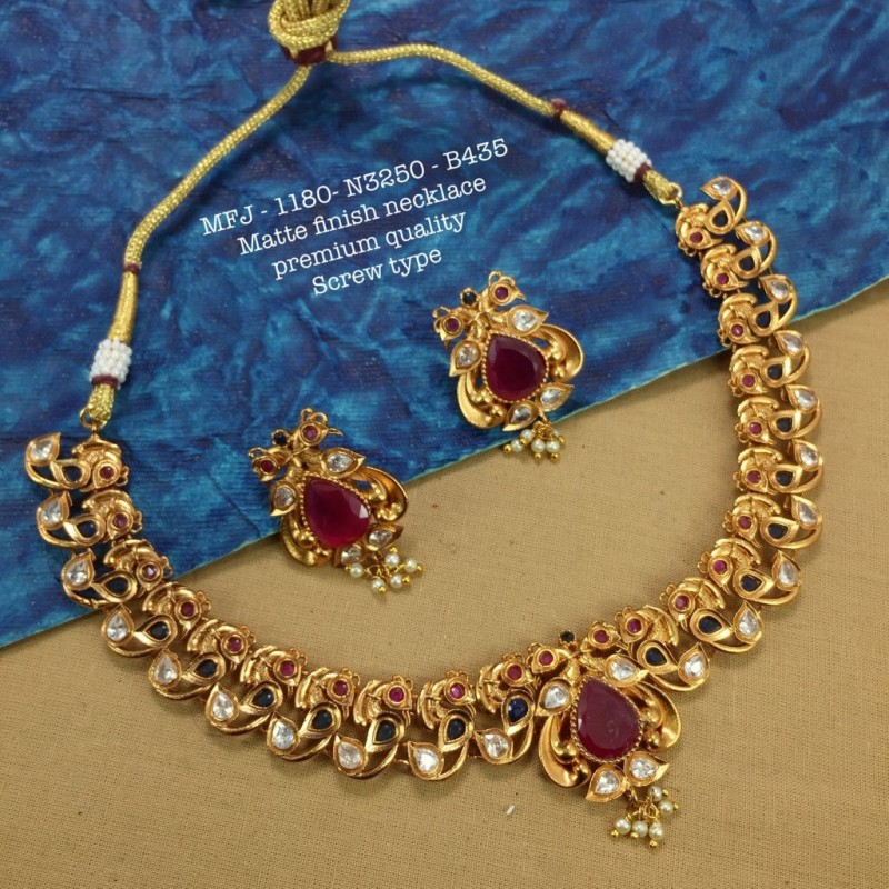 CZ,Ruby Stones With Pearls Stars And Flower Hanging Design Gold Plated Finish Chocker Necklace Set Buy Online