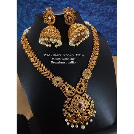 Premium Quality Ruby,Emerald Stones With Pearls Mango With Peacock Design Matte Finish Chocker Necklace Set Buy Online