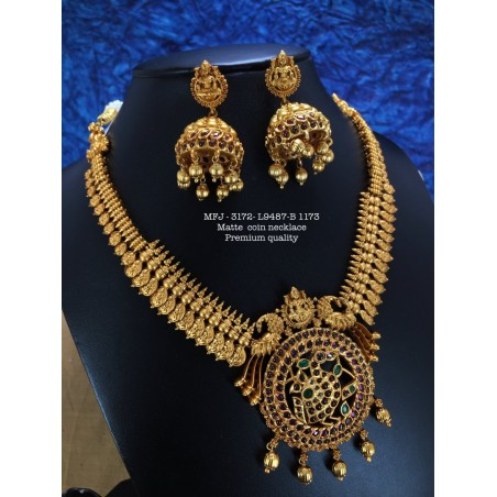 Premium Quality Ruby,Emerald Stones With Pearls Peacock,Mango With Flower Design Matte Finish Necklace Set Buy Online