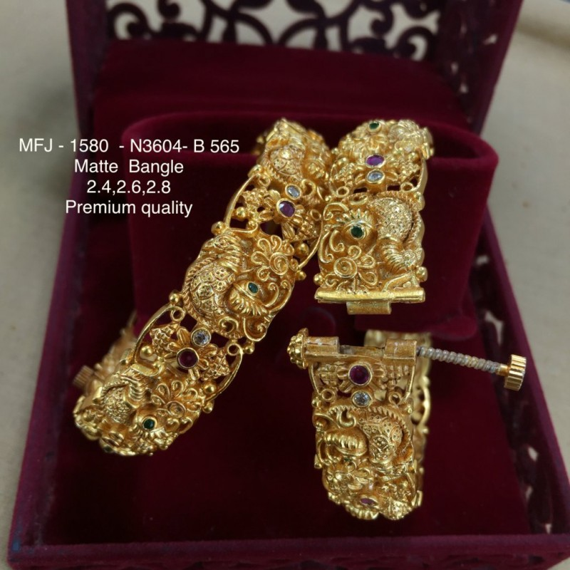 CZ,Ruby&Emerald Stoned Flower Designer Mat Finished Open type  Kada(Braclet) Set Buy Online