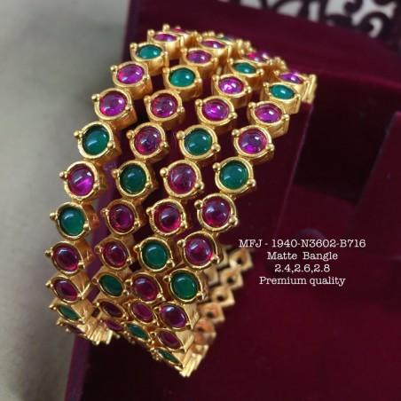 Ruby Thilagam Stoned Flower Design Matte Finished Combo Set Buy Online