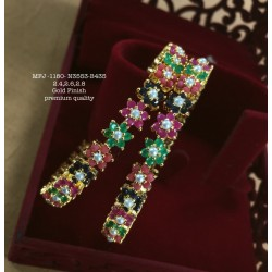 High Quality Kempu & CZ,Ruby&Emerald With Golden Balls Flowers Combo Design Dance Set Buy Online