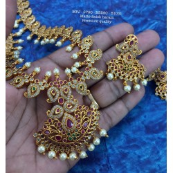 High Quality Kempu &Blue,CZ&Ruby With Golden Balls Flowers Combo Design Dance Set Buy Online