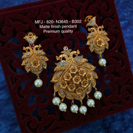 Red&Green Colour Stones With Pearls Saradu Flower,Hanging Type Earrings Design Matte Finish Necklace Set Buy Online
