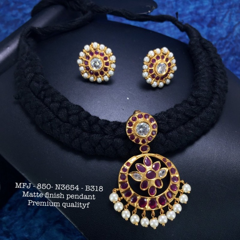 Premium Quality Emerald Stones With Pearls Flower, Screw Type Stud Earrings Design Gold Finish Necklace Set Buy Online