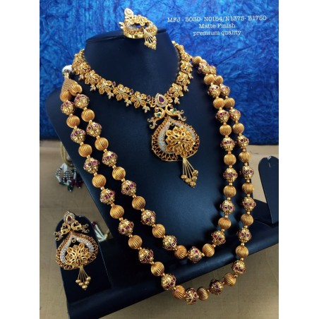 REd&Emerald Stones With Golden Balls Chain,Peacock&Flower,Screw Type Earrings Design Gold Finish Necklace Set Buy Online