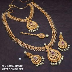Premium Quality Ruby&Emerald Stones With Golden Balls Chain,Flower,Design Gold Finish Necklace Set Buy Online