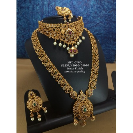 Premium Quality Ruby&Emerald Stones With Mango Golden Balls And Kasu Lashmi,Design Gold Finish Necklace Set Buy Online