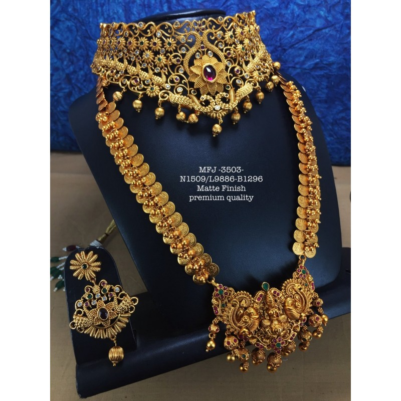 Premium Quality Ruby&Emerald Stones With Mango Golden Balls And Kasu Lashmi,Design Gold Finish Necklace Set Buy Online