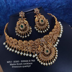 Ruby,Emerald Stones With Golden Balls Saradu With Flower,Screw Type Earrings Design Gold Finish Necklace Set Buy Online