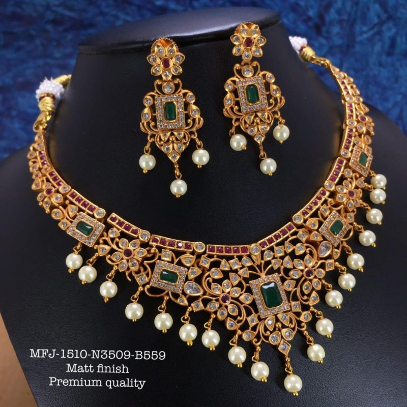 Ruby,Emerald Stones Three&Five Layer Balls Chain& Flower,Screw Type Earrings Design Gold Finish Necklace Set Buy Online