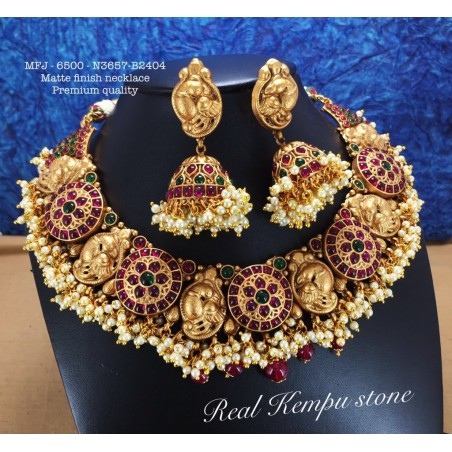 Premium Quality Ruby,Emerald Stones With Golden Balls Chain& Flower Pendent Design Gold Finish Necklace Set Buy Online