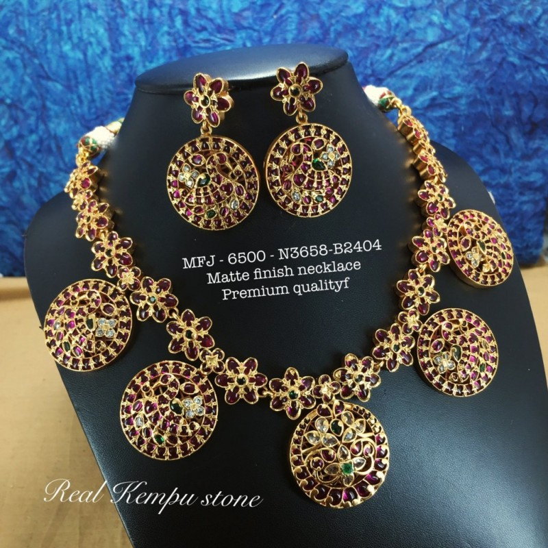 Premium Quality Ruby,Emerald Stones Pearl With Golden Balls With Chain & Pendent Design Gold Finish Necklace Set Buy Online
