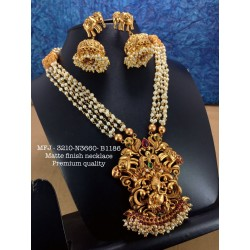 Premium Quality Ruby,Stones Pearl With Golden Chain&Flower Pendent Design Gold Finish Necklace Set Buy Online