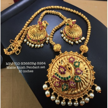 Premium Quality Ruby,Emerald Stoned Golden Balls Lakshmi,Screw Type Earrings Design Gold Finish Necklass Set Buy Online