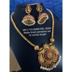 Premium Quality Ruby,Emerald Stoned Golden Balls Chain With Pendent Design Gold Finish Pendent Set Buy Online