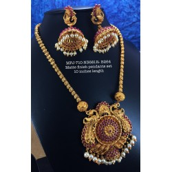 Premium Quality Ruby,Emerald Stoned Mat Balls Lakshmi,Design Matte Finish Pendent Necklass Set Buy Online