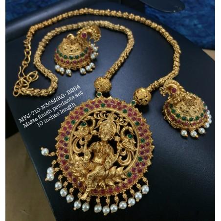 Premium Quality Ruby Stones Lakshmi Coin Design Gold Finish Necklace Set Buy Online