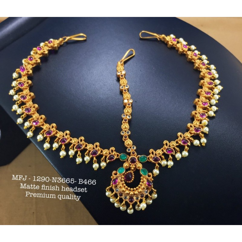 Ruby&Emerald Stoned With Pearls Peacock With Flower Design 1 Gr Gold Finished Kum Kum Stand Set Online