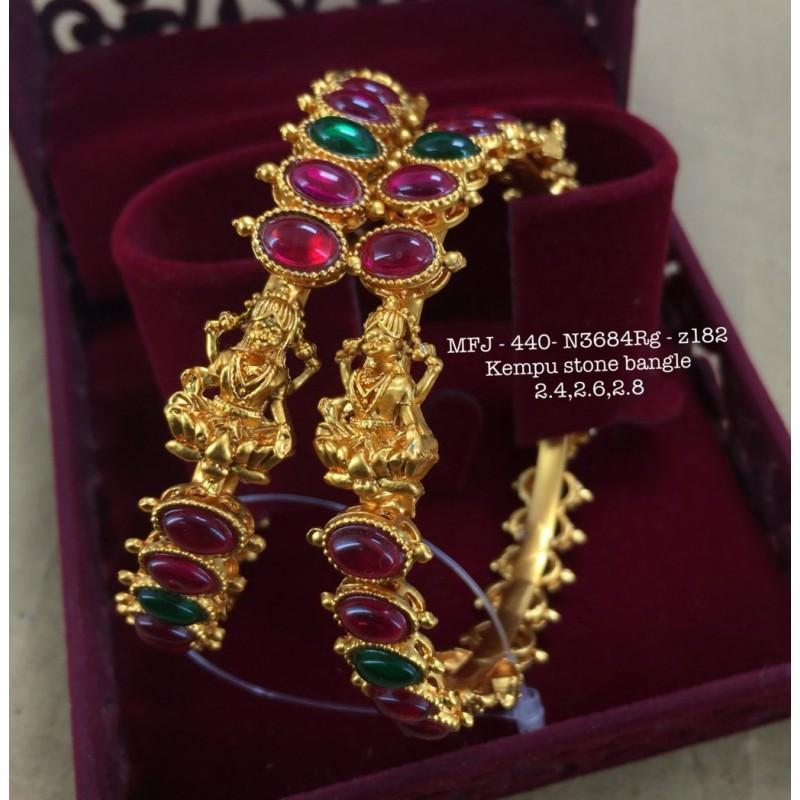 Ruby&Emerald Stoned Mango Flower Two Steps Design 1 Gr Gold Finished Kum Kum Stand Set Online
