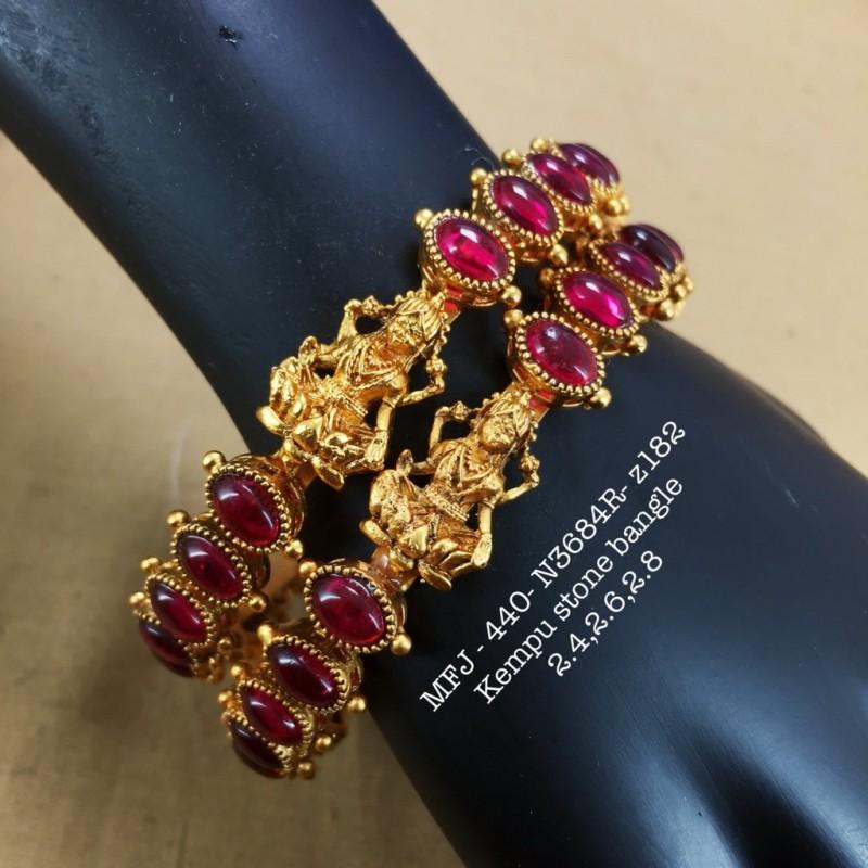 Ruby&Emerald Stoned Lord Hanuman Design 1 Gr Gold Finished Bell Set Online