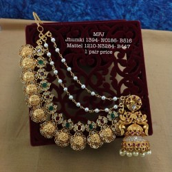 Premium Quality Ruby,Emerald Stones Three&Five Layer Balls Chain& Flower Design Gold Finish Necklace Set Buy Online