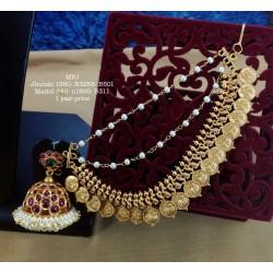 Premium Quality CZ,Ruby&Emerald Stones Ram Parivar&Flower,Hanging Type Design Earrings Gold Finish Haram Set Buy Online
