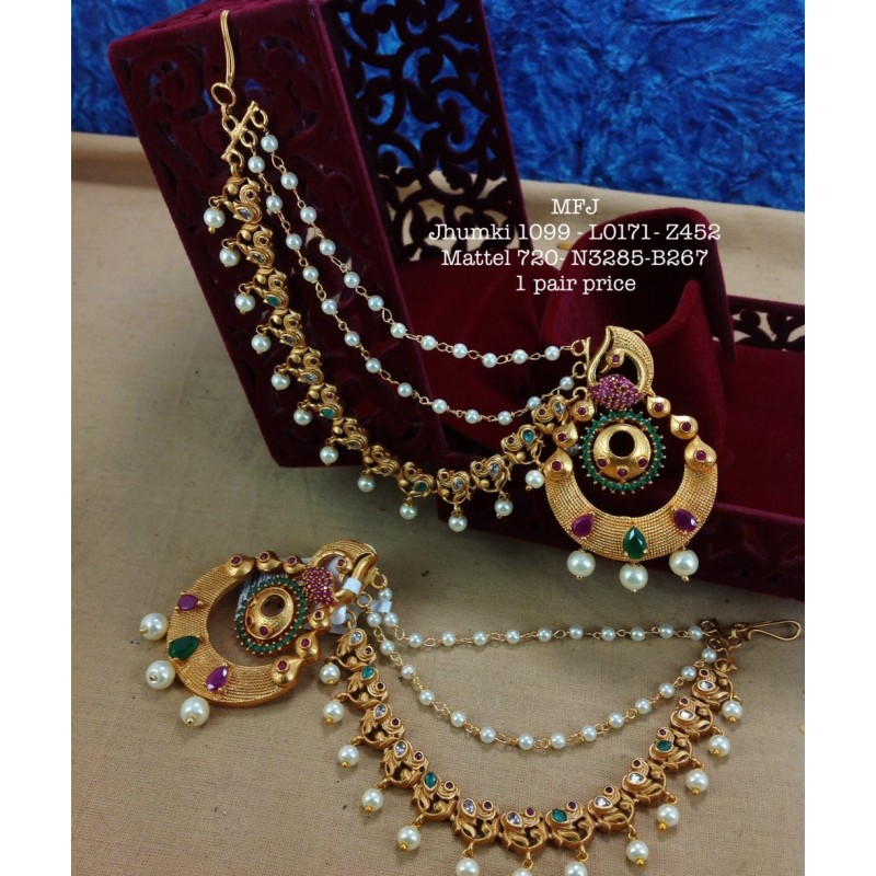 CZ,Ruby Stones With Pearl Jumka Peacock With Flower,Hanging Type Design Earrings Gold Mat Finish Haram Set Buy Online