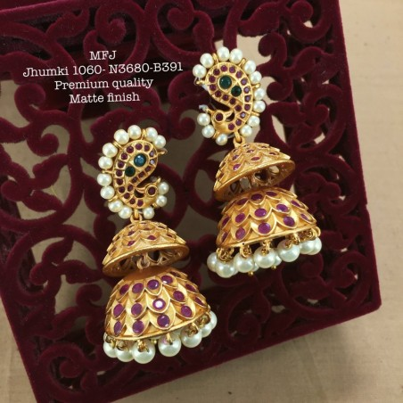 CZ,Ruby&Emerald Stones with Pearls Kasu Lakshmi,Hanging Type Design Earrings Gold Mat Finish Haram Set Buy Online