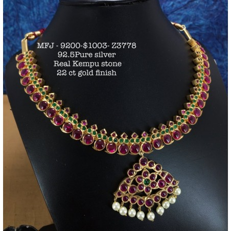 CZ,Ruby With Pearls Kasu Lakshmi&Flower,Hanging Type Earrings Design Gold Finish Necklace Set Buy Online