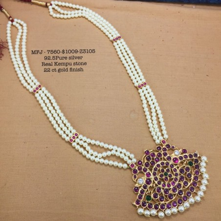 CZ,Ruby Stones With Pearls Kasu Lakshmi,Screw Type Earrings Design Gold Finish Necklace Set Buy Online