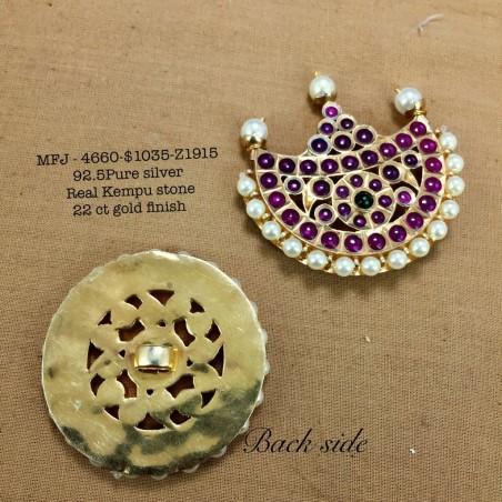 Ruby,Emerald Three Lined AD Stone Flowers Design Gold Plated Finish Kada Adjustble Bracelet Buy Online