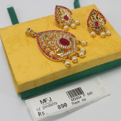 Kempu Stone Designer Necklace & Earrings Set Online