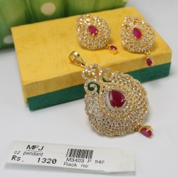 Antique Ruby Stone Designer Pearls Necklace & Earrings Set Online