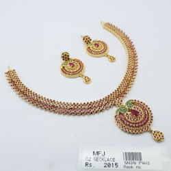 Antique Ruby & Kundan Stones Pendant With Antique & Pearls Chain And Jumki Set Online