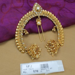 CZ & Ruby Stones Kunjalam End of Hair Paranda -Temple Jewellery -Dance Jewellery Online