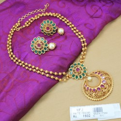 CZ, Ruby & Emerald Stones Kunjalam End of Hair Paranda -Temple Jewellery -Dance Jewellery Online