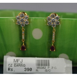 CZ, Ruby & Emerald Stones Flower & Peacock Design Saree Pin Online