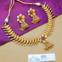 Kempu Stones Haram -Temple Necklace-Dance Jewellery Online