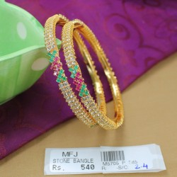 Ruby Stones Flowers Design Necklace Set Online