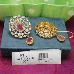 CZ, Ruby & Emerald Stones Flowers & Leaves Design Saree Pin Online