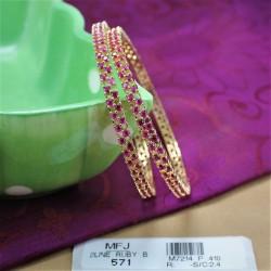 CZ, Ruby & Emerald Stones Peacock Design Kada Online