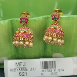 CZ Stones Earrings With CZ, Ruby, Emerald, Blue Sapphire & Honey Colour Changeable Stones Online