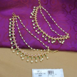 CZ & Ruby Stones Designer Necklace, Haram, Headset & Earrings Combo Set Online