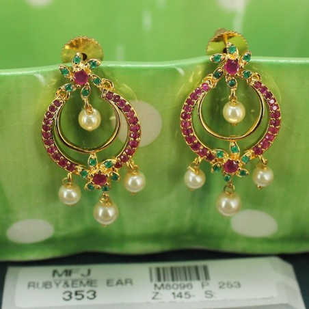 2.8 Size Ruby & Emerald Stones Designer Gold Plated Finish Bangles Buy Online