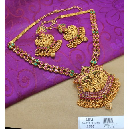CZ & Ruby Stones Peacock & Leaves Design Necklace Set Buy Online