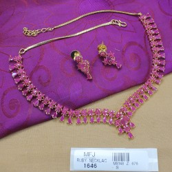 Ruby & Emerald Stones Mat Finish Flowers & Mango Design With Pearls Drop Necklace Set Buy Online