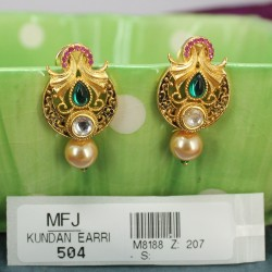 Ruby & Emerald Stones Mat Finish Mango & Flowers Design With Pearl Drops Haram Set Buy Online