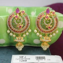 1 Gram Gold Dip Ruby & Emerald Stones Lakshmi & Peacock Design With Pearl Drops Vamki Online