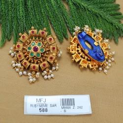 1 Gram Gold Dip Ruby & Emerald Stones Lakshmi & Mango Design Haram Set Buy Online